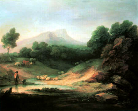 Thomas Gainsborough - Mountain landscape and a flock of sheep