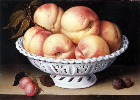 Fede Galizia - Still life with peaches in a white porcelain basket