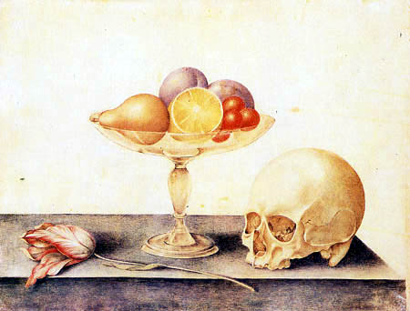 Giovanna Garzoni - Still life with fruit in a tazza, a skull and a tulip