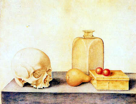 Giovanna Garzoni - Vanitas still life with a skull, a bottle, a box and fruit