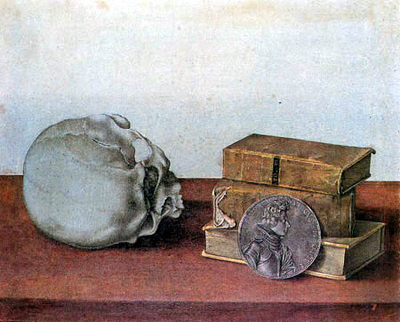 Giovanna Garzoni - A skull, three books and a medal of Prince Francesco de Medici
