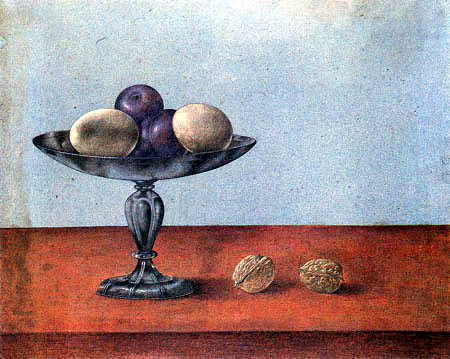 Giovanna Garzoni - Eggs and plums in a tazza beside two nuts