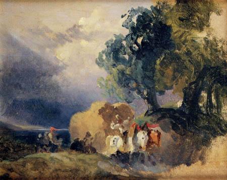 Friedrich Gauermann - A grain car in the thunderstorm