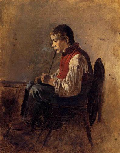 Friedrich Gauermann - Pfeifenrauchender Knabe