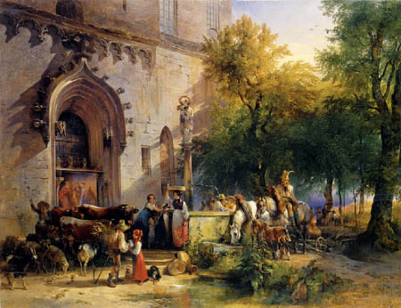 Friedrich Gauermann - At the well from the monastery