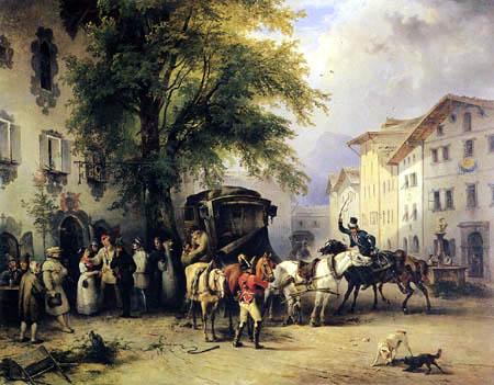 Friedrich Gauermann - Umspannen eines Eilwagens