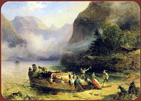 Friedrich Gauermann - Embarkation of a drove