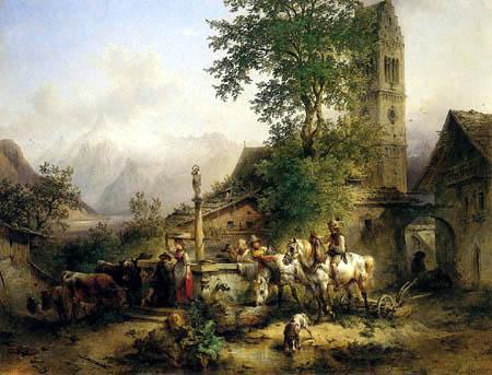 Friedrich Gauermann - Spring in Zell lake-side