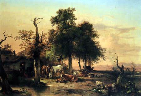 Friedrich Gauermann - Meadow under trees
