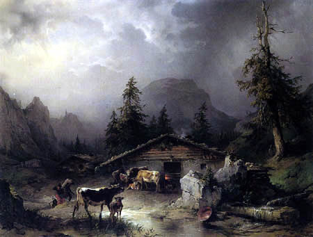 Friedrich Gauermann - Cottage of Alps in Rain