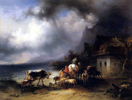 Friedrich Gauermann - Heimeilende Herde bei Regen am Attersee