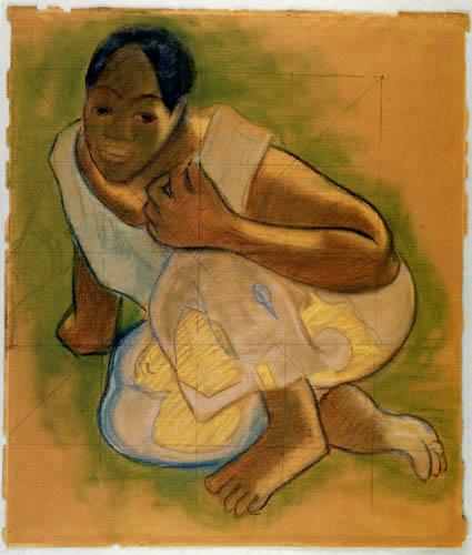 Paul Gauguin - Kauernde Tahitianerin