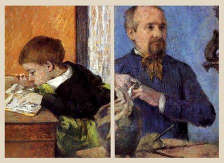 Paul Gauguin - The Sculptor Aubé with his son