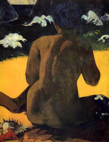 Paul Gauguin - Vahine no te Miti, Frau am Meer