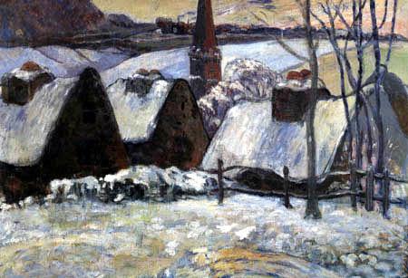 Paul Gauguin - Bretonisches Dorf im Schnee