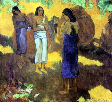 Paul Gauguin - Drei Tahitierinnen vor gelbem Hintergrund
