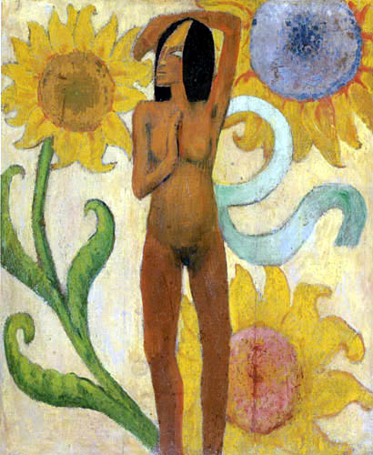 Paul Gauguin - Female Nude with Sunflowers