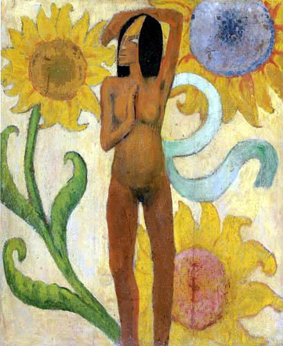 Paul Gauguin - weiblicher Akt mit Sonnenblumen