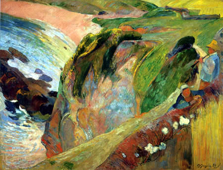 Paul Gauguin - Flageoletplayer on the cliff, Brittany