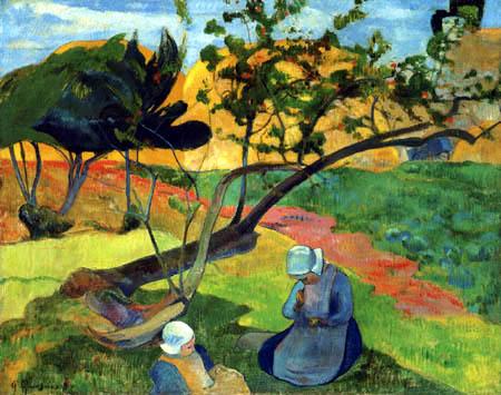 Paul Gauguin - Landschaft mit zwei bretonischen Frauen