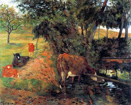 Paul Gauguin - Landschaft mit weidenden Kühen