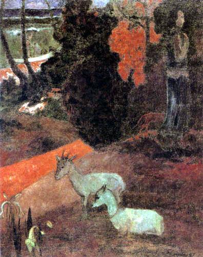 Paul Gauguin - Landschaft mit Ziegen