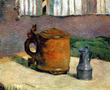 Paul Gauguin - Hölzener Humpen und metallischer Krug