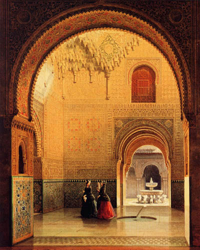 Eduard Gerhardt - The hall of the two sisters, Alhambra - Granada