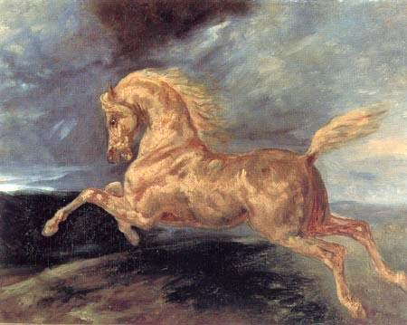 Théodore Géricault - Ausschlagendes Pferd bei einem Gewitter