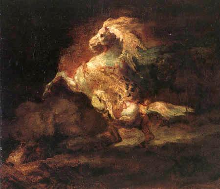 Théodore Géricault - Sich aufbäumender Schimmel
