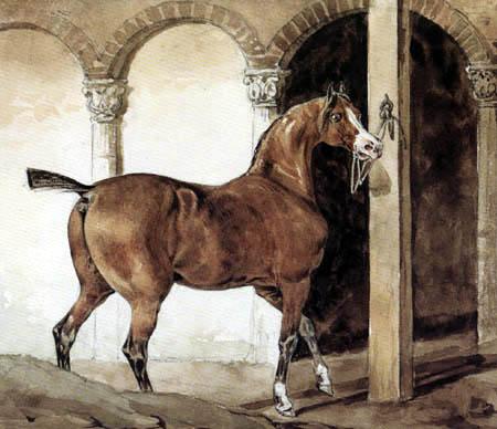 Théodore Géricault - Braunes Pferd, an einem Pfosten befestigt