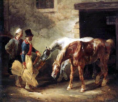 Théodore Géricault - Postpferde vor einem Stall