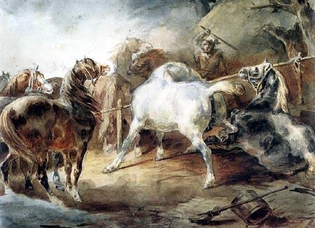 Théodore Géricault - Kämpfende Pferde in einem Korral