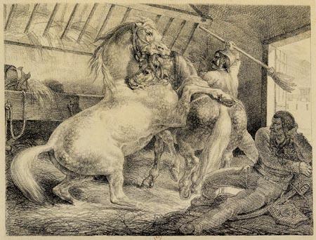 Théodore Géricault - Chevaux se battant dans un écurie
