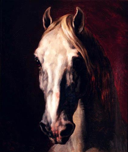 Théodore Géricault - The head of a white horse