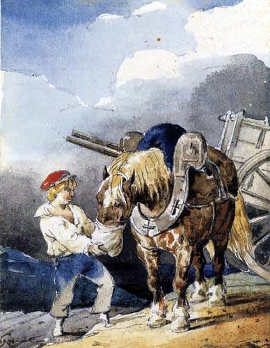 Théodore Géricault - Junge füttert ein Pferd aus einem Beutel