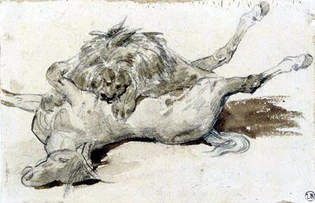 Théodore Géricault - Lion Devouring a Horse