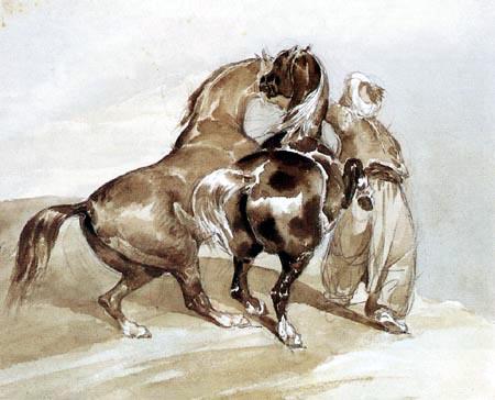Théodore Géricault - Ein Mamelucke hält zwei unruhige Pferde