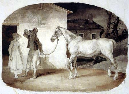 Théodore Géricault - Altes Pferd an der Tür eines Wirtshauses