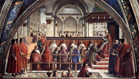 Domenico (di Tommaso) Ghirlandaio (Bigordi) - Bestätigung der Ordensregel der Franziskaner