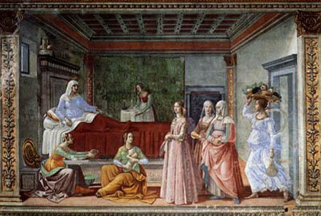 Domenico (di Tommaso) Ghirlandaio (Bigordi) - Birth of John the Baptist