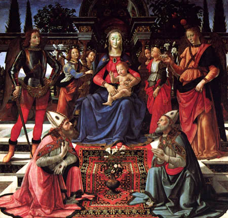 Domenico (di Tommaso) Ghirlandaio (Bigordi) - Enthroned Madonna with Child