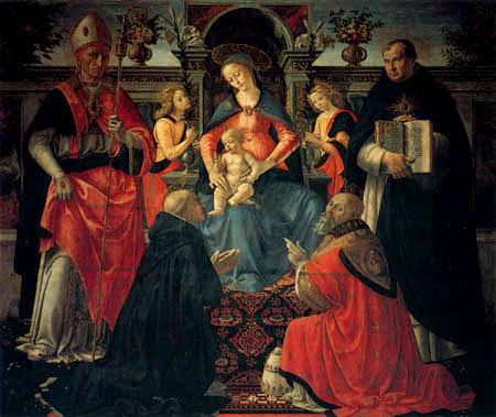 Domenico (di Tommaso) Ghirlandaio (Bigordi) - Enthroned Madonna with Child