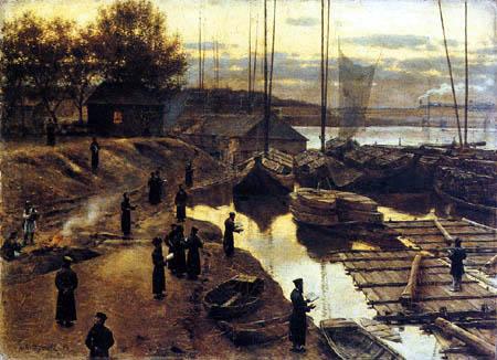 Aleksander Gierymski - Trabki, Hafenszene