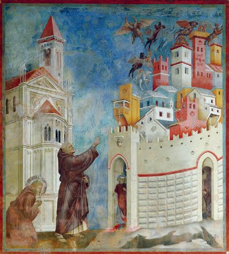 Giotto (di Bondone) - Expulsión de los diablos de Arezzo