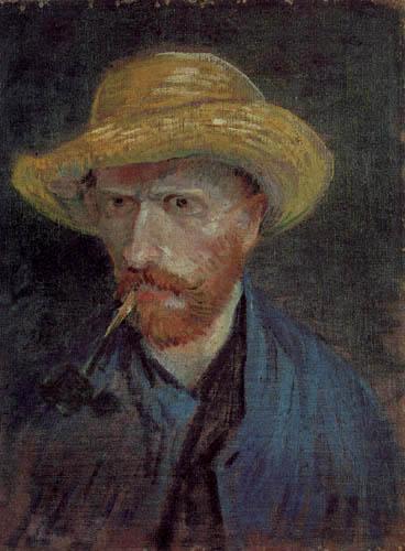 Vincent van Gogh - Selbstbildnis mit Strohhut und Pfeife