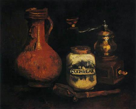Vincent van Gogh - Stillleben mit Krug, Kaffeemühle und Pfeife