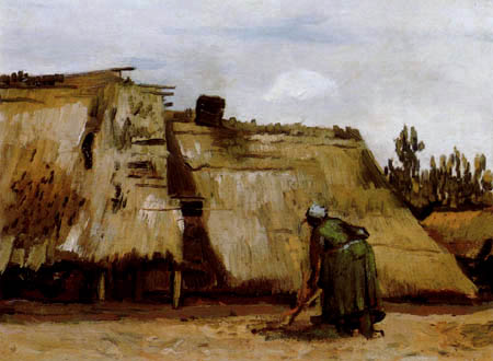 Vincent van Gogh - Farmhouse with a working farmers wife