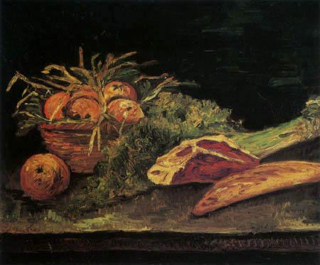 Vincent van Gogh - Stillleben mit Apfelkorb,Fleisch und Brot