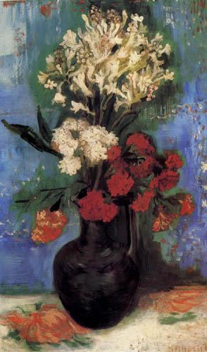 Vincent van Gogh - Vase mit Nelken und anderen Blumen